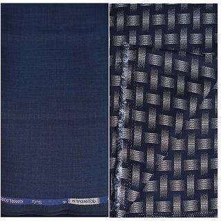 Kundan Sulz Gwalior Men's Executive Black Print Shirt & Fancy Soft & Fancy Navy Blue Color Trouser Fabric Combo Set ( 1 Pant Shirt Piece for Men )