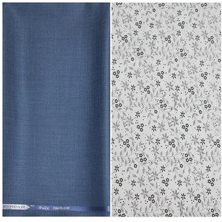 Kundan Sulz Gwalior Men's Executive White Print Shirt & Fancy Soft & Fancy Blue Color Trouser Fabric Combo Set ( 1 Pant Shirt Piece for Men )