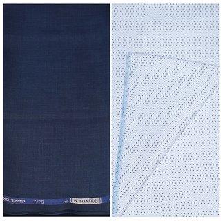 Kundan Sulz Gwalior Men's Executive White Print Shirt & Fancy Soft & Fancy Navy Blue Color Trouser Fabric Combo Set ( 1 Pant Shirt Piece for Men )