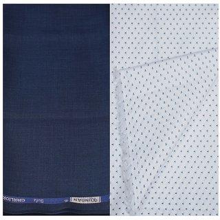 6b48dd34c5 Kundan Sulz Gwalior Men's Executive White Print Shirt & Fancy Soft & Fancy  Navy Blue Color Trouser Fabric Combo Set ( 1 Pant Shirt Piece for Men )