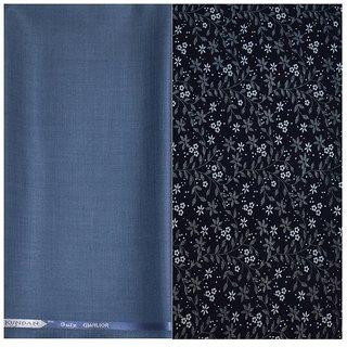 Kundan Sulz Gwalior Men's Executive Blue Print Shirt & Fancy Soft & Fancy Blue Color Trouser Fabric Combo Set ( 1 Pant Shirt Piece for Men )