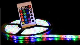 5 Meter Finest Multicolor RGB Waterproof LED Strip With Remote and 12 Volt DC Adaper (Suitable For Outdoor  Indoor)