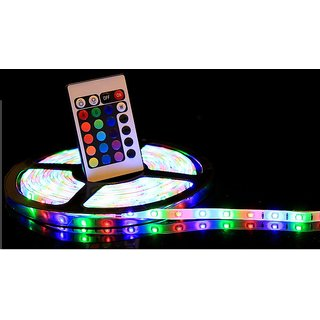 5 Meter Finest Multicolor RGB Waterproof LED Strip With Remote & 12 Volt DC Adapter (Suitable For Outdoor  Indoor)