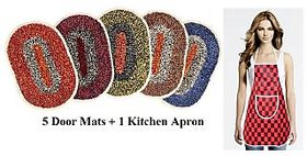 5 Doormats With 1 Apron (Pack Of 6)