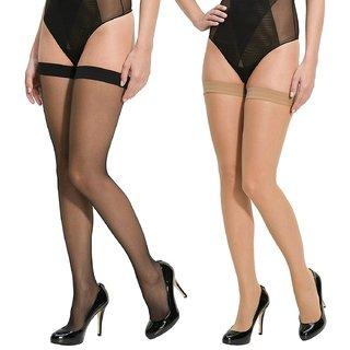 IndiRocks Women Panty Hose Long Comfort Stockings Pack Of 2