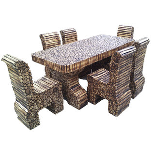 Natural Log Slices Dining Table With 6 Chairs