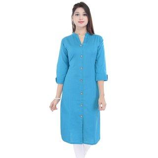 Alobha Turquoise Solid Cotton Kurti