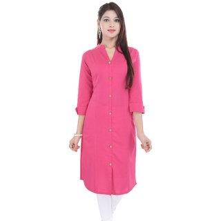 Alobha Pink Solid Cotton Kurti