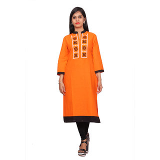 Alobha Orange Solid Cotton Kurti