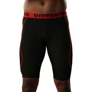 omtex Compression Bottom Shorts For Men - Red