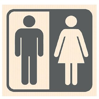 Toilet Male/Female Restroom Vinyl Home Decor PVC Wall Sticker ( PVC Plastic Sticker , 15cm X 15 Cm)