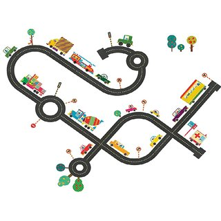 Floor Car Racing Track Vinyl Home Decor PVC Wall Sticker ( PVC Plastic Sticker , 58 Cm X 28 Cm)