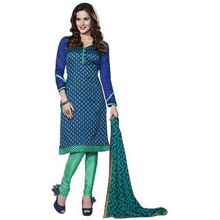 Triveni Sophisticated Green Chanderi Silk Salwar Kameez (Unstitched)