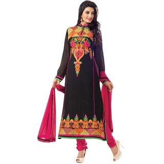 Triveni Adorable Black Embroidered Faux Georgette Salwar Kameez (Unstitched)