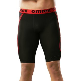 omtex Compression Bottom Shorts For Men -  Red Shock for Gym Fitness and sports