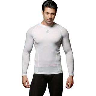 omtex Full Sleeve Compression Top For Men - Plain White