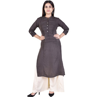 Adesa Grey Solid Cotton Stitched Kurti for Women