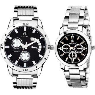 ADAMO Designer Couple Combo Wrist Watch 107-324SM02