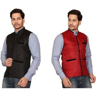 Garun Multi Cotton Blend Nehru Jacket - Pack of 2