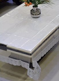 Home Fashion Pvc Transprant With Pvc Lace Center Table Cover For 4 Seaters (40X60 33)
