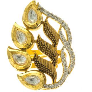 Aretha Jewels Silver Gold Plate Leafy Rawa Ring JSRI0012