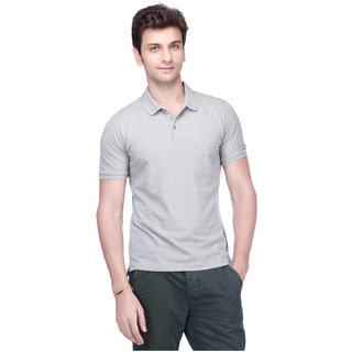 Squarefeet Grey Polyester Polo Neck Tshirt