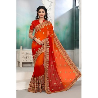 Meia Maroon Georgette Embroidered Saree With Blouse