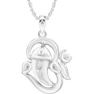 VK Jewels Om Ganesh Rhodium Plated Alloy Pendant With Chain for Women [VKP2694R]
