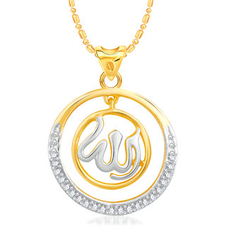 VK Jewels Allah Gold and Rhodium Plated Alloy CZ American Diamond Pendant With Chain for Women [VKP2382G]