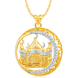 VK Jewels Islamic Mosque Gold and Rhodium Plated Alloy CZ American Diamond Pendant With Chain for Women [VKP2383G]