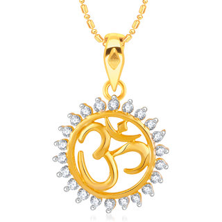 VK Jewels Om Gold and Rhodium Plated Alloy CZ American Diamond Pendant With Chain for Women [VKP2441G]