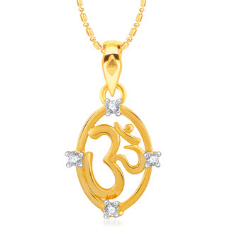 VK Jewels Om Gold and Rhodium Plated Alloy CZ American Diamond Pendant With Chain for Women [VKP2445G]