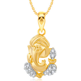 VK Jewels Ganesha Gold and Rhodium Plated Alloy CZ American Diamond Pendant With Chain for Women [VKP2446G]