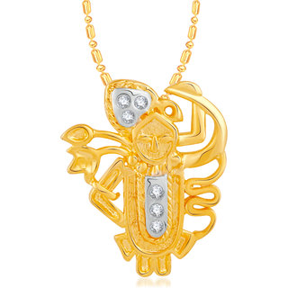 VK Jewels Shrinathji Gold and Rhodium Plated Alloy CZ American Diamond Pendant With Chain for Women [VKP2451G]