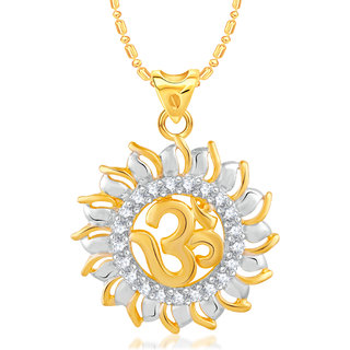VK Jewels Om Gold and Rhodium Plated Alloy CZ American Diamond Pendant With Chain for Women [VKP2454G]