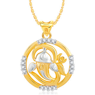VK Jewels Ganesha With Om Gold and Rhodium Plated Alloy CZ American Diamond Pendant With Chain for Women [VKP2455G]