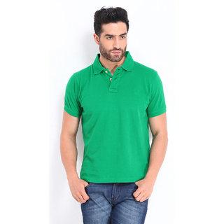Squarefeet Green Poly Cotton Polo Neck Tshirt