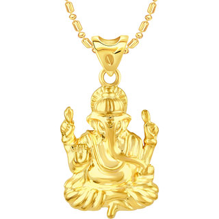 VK Jewels Ganpati Gold Plated Alloy Pendant With Chain for Women [VKP2509G]