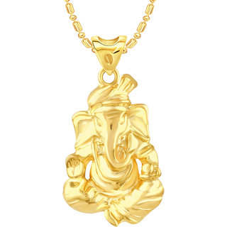 VK Jewels Gajanan Gold Rhodium Plated Alloy Pendant With Chain for Women [VKP2510G]