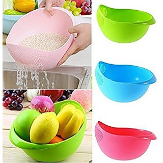 Multipurpose Vegetable and Fruit Basket Cum Rice Wash Sieve Washing Bowl Colander (Random Colour)