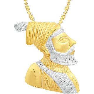 VK Jewels Maratha Warrior Chhatrapati Shivaji Maharaj Gold and Rhodium Plated Alloy Pendant With Chain for Men -  P2211G [VKP2211G]