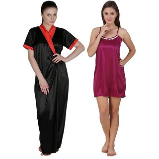 60ac7be1c5 Buy Keoti multi-color Satin Babydoll nighty   Robe set - Pack of 2 ...