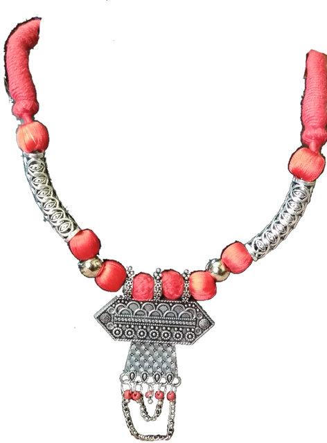 72656b296a5da silver oxidised necklace set