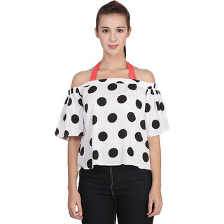 c549ab40be6a82 Buy Falcon Womens  White Crepe Printed Polka Dot Halter Top Online ...