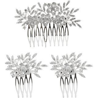 JewelMaze Austrian Stone Silver Plated Hair Brooch -1502043A