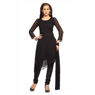 Designersareez Black chiffon semi stitched salwar suit with dupatta (20027)