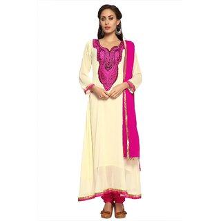Designersareez Cream chiffon semi stitched anarkali salwar suit with dupatta (20080)