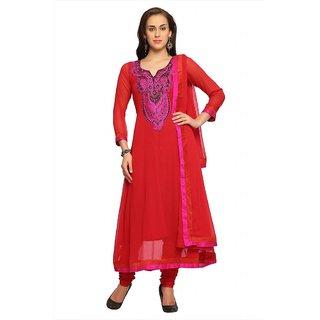 Designersareez Deep red chiffon semi stitched anarkali salwar suit with dupatta (20081)