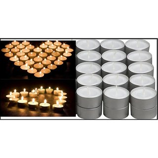 Buy Pack of 100 pcs WHITE Tea Light Candles, DECORATION LIGHTING FOR DIWALI CHRISTMAS CodeRB-2226