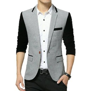 Mens Grey Black Slim Fit Blazer